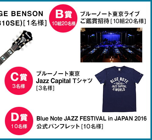 B賞 ブルーノート東京ライヴご鑑賞招待[10組20名様]、C賞 ブルーノート東京Jazz Capital Tシャツ[3名様]、D賞 Blue Note JAZZ FESTIVAL in JAPAN 2016公式パンフレット[10名様]